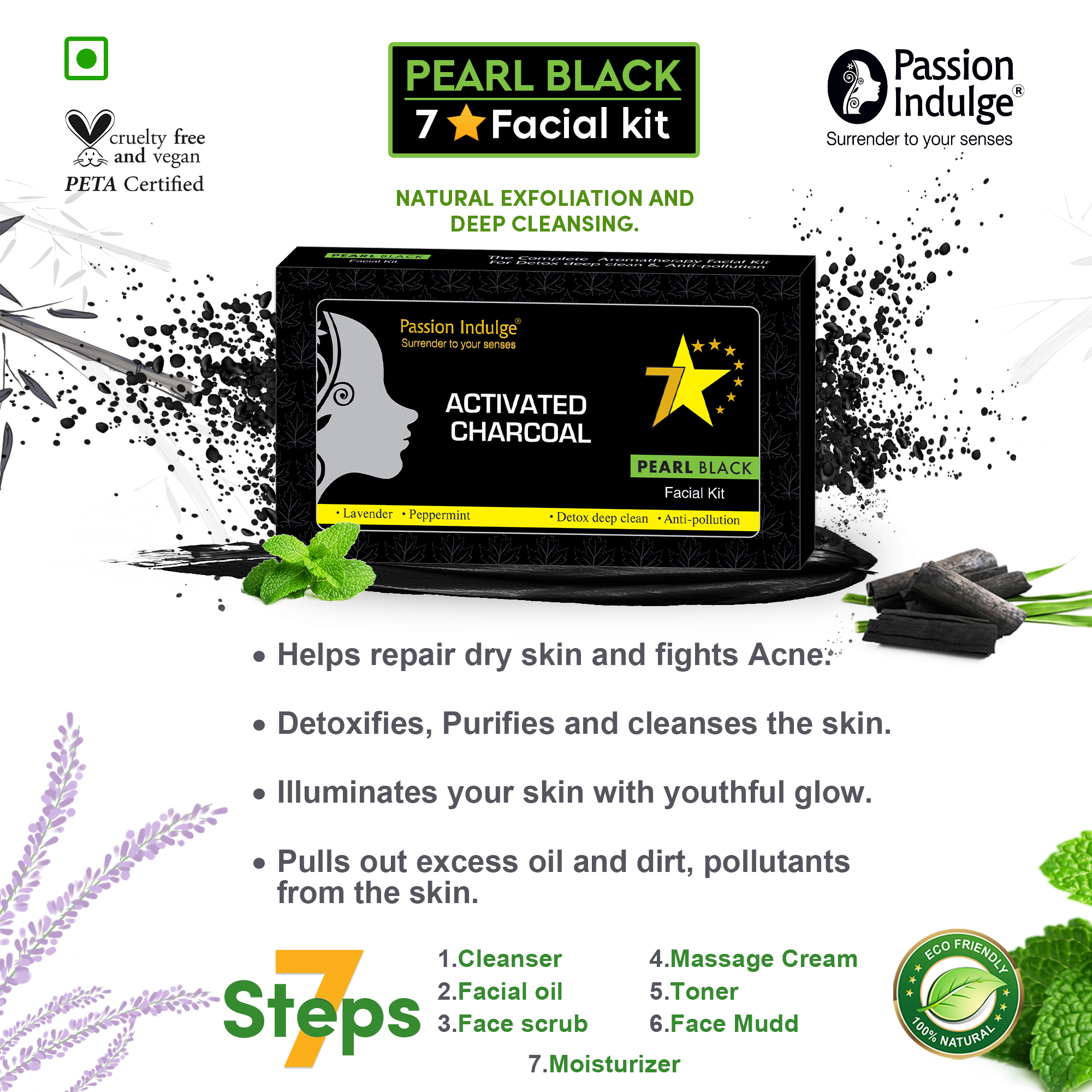Activated Charcoal Pearl Black 7 Star Facial Kit  - Passion Indulge