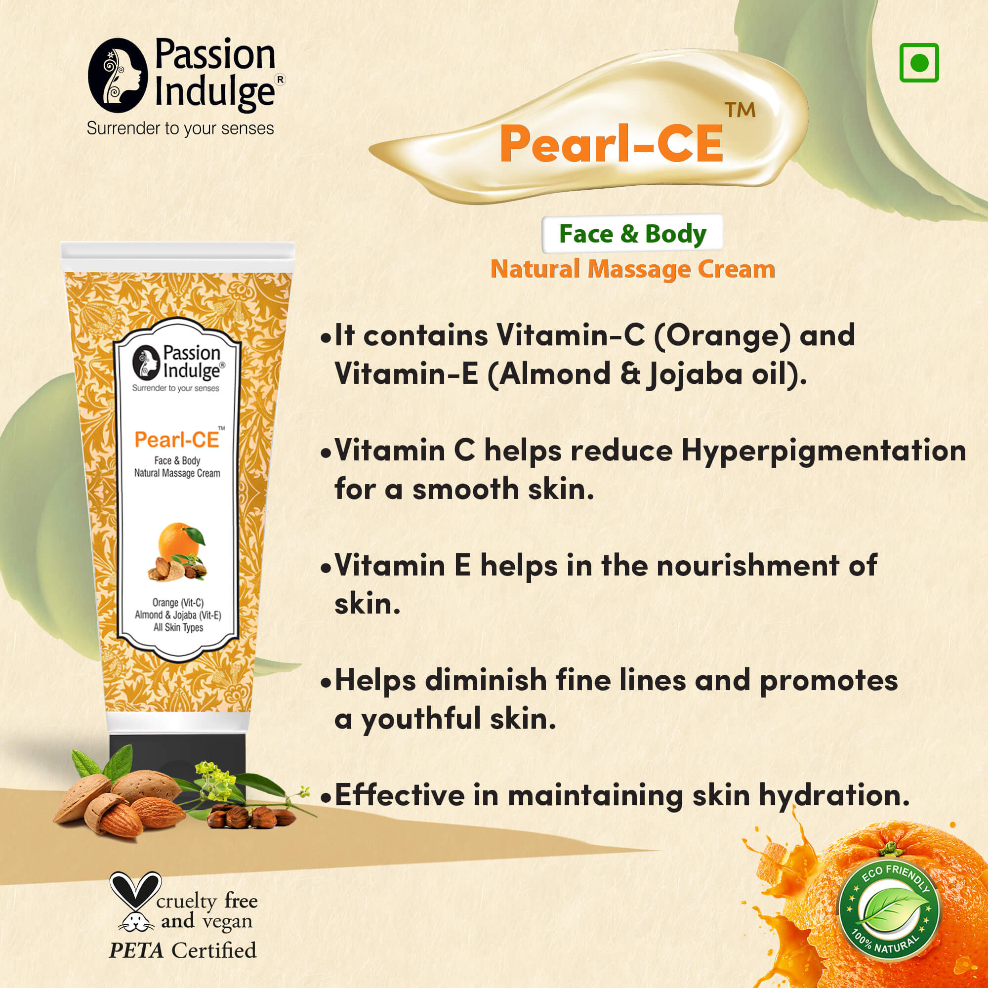Passion Indulge Pearl-Ce Face and BodyVitamin C and Vitamin E Glow Boosting Orange Shea Butter Cream Oil Free, Quick Absorbing - for All Skin Types - No Parabens, Silicones, Colour, Mineral Oil, Message Cream, Facial Cream - 100gm- Passion Indulge